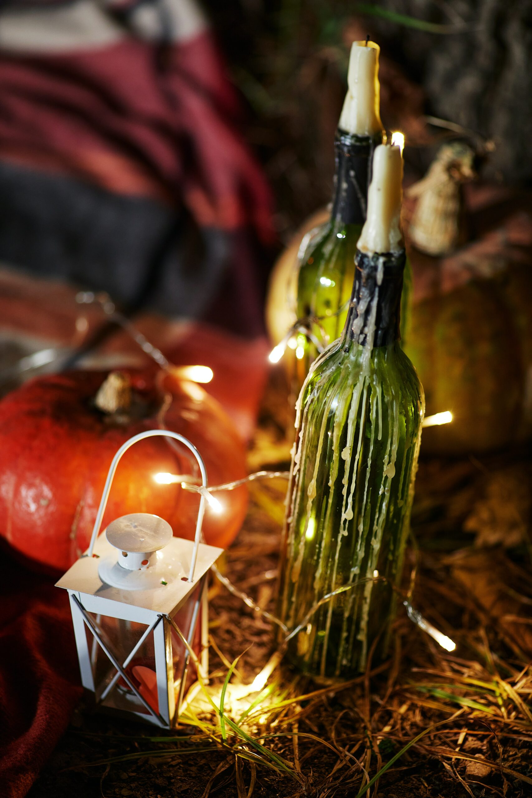 Wine bottles with candles