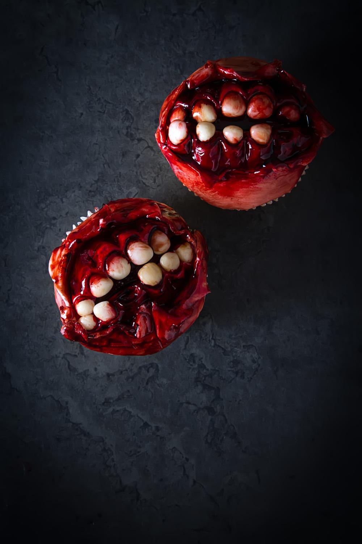 Zombie teeth halloween cupcakes