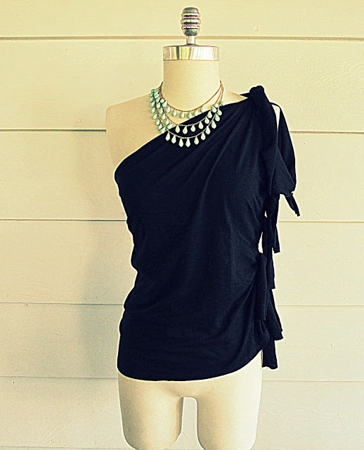 asymmetrical knotted tee refashion