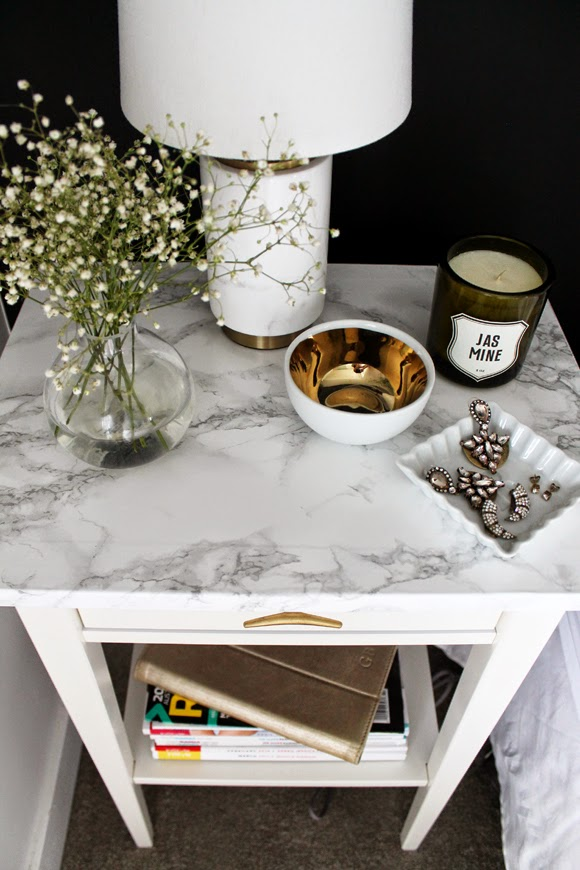 Faux Marble Bedside Table