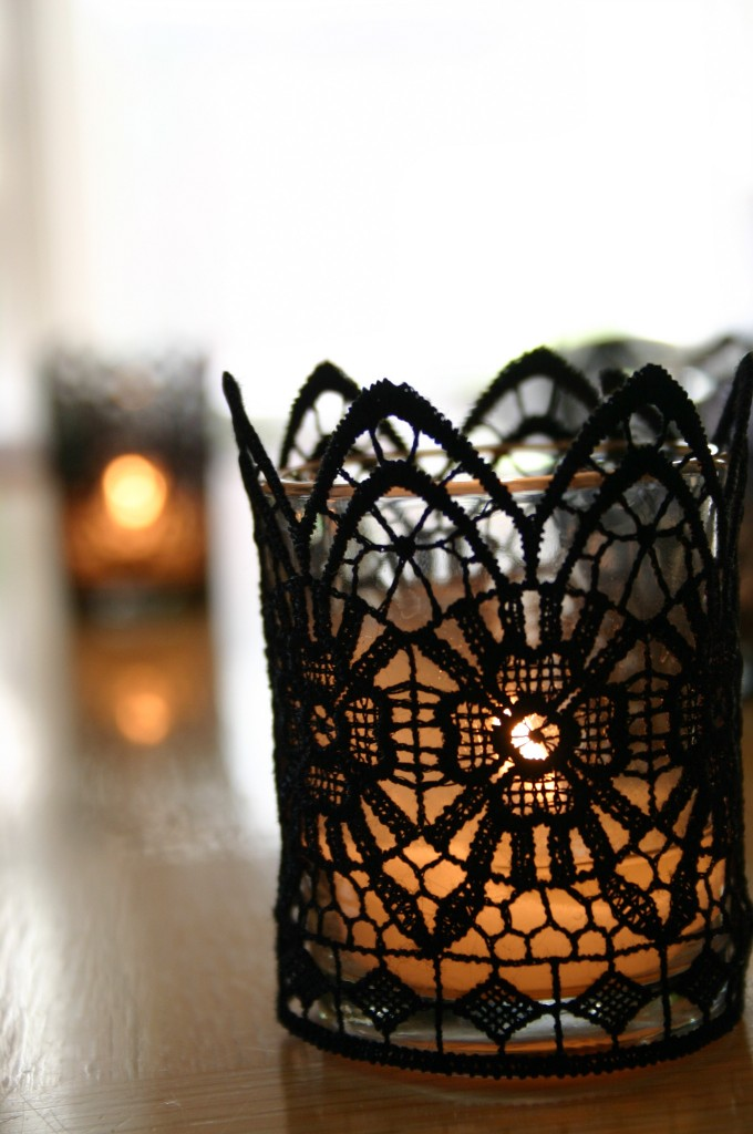 1 black lace votive candles - Elegant Halloween Decor