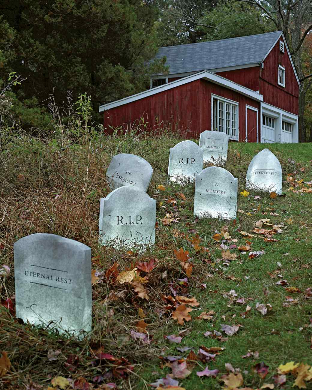 2 rows of tombstones - Halloween Garden Decor