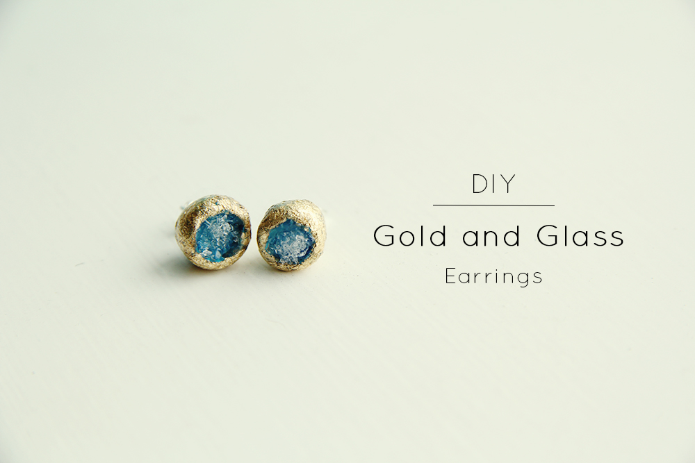 gold-and-glass-diy earrings