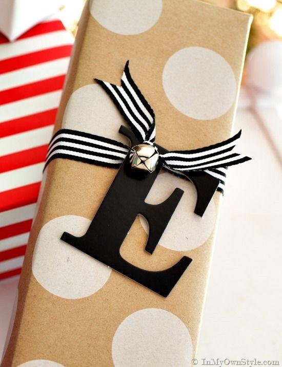 initial gift tag diy