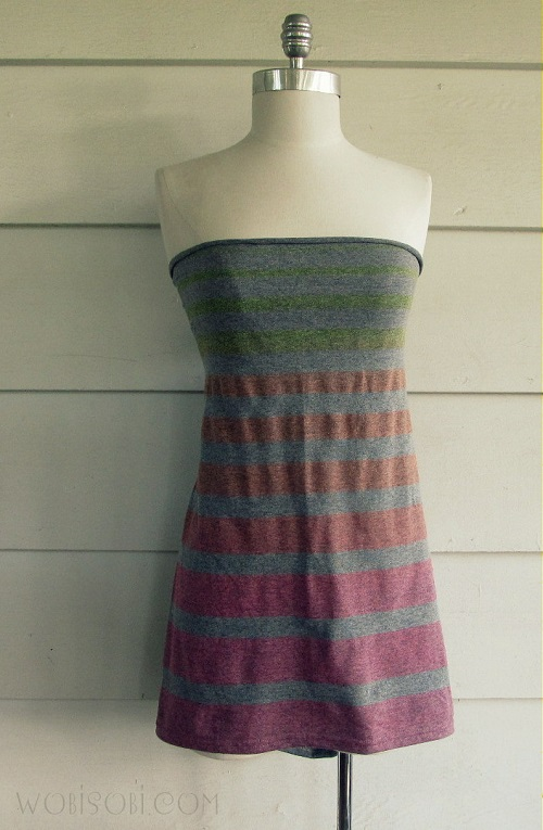 striped strapless dress