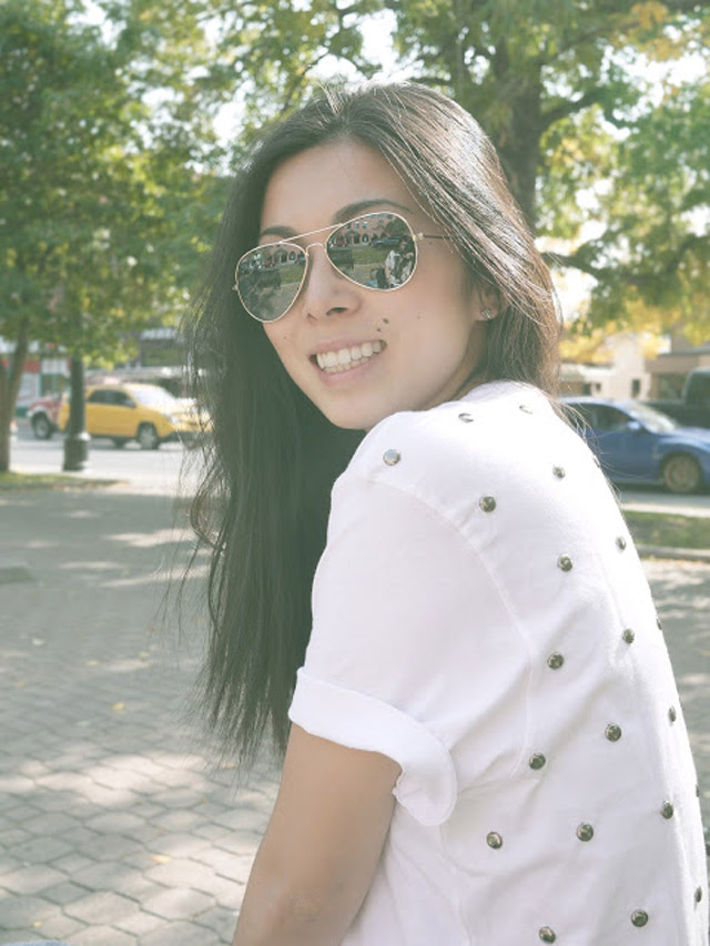 studded white tee