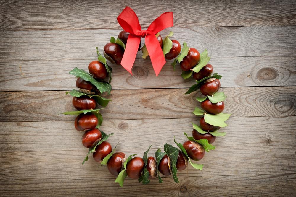 Autumn & christmas chestnut wreath cheap thanksgiving decorations