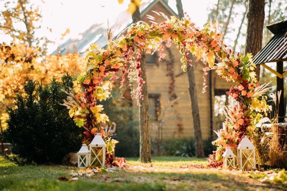 Autumn wedding arch outdoor thanksgiving decoration ideas