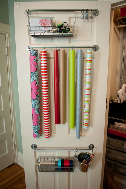 Behind the Door Organizer & 33 Ways To Organize Your Gift Wrapping Essentials