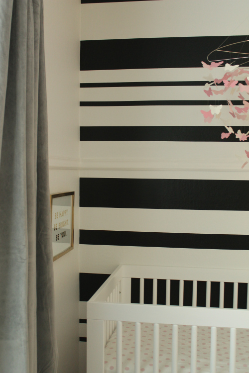 Black and White Stripe Accent wall diy