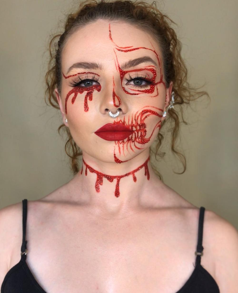 Bloody face halloween makeup ideas