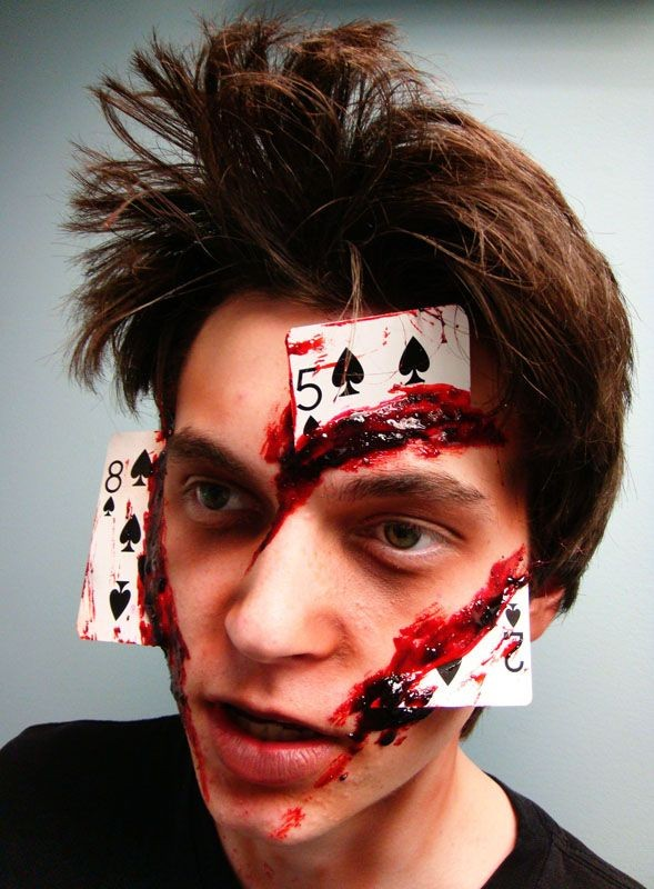 card cutting face makeup - Scary Faces For Halloween With Makeup