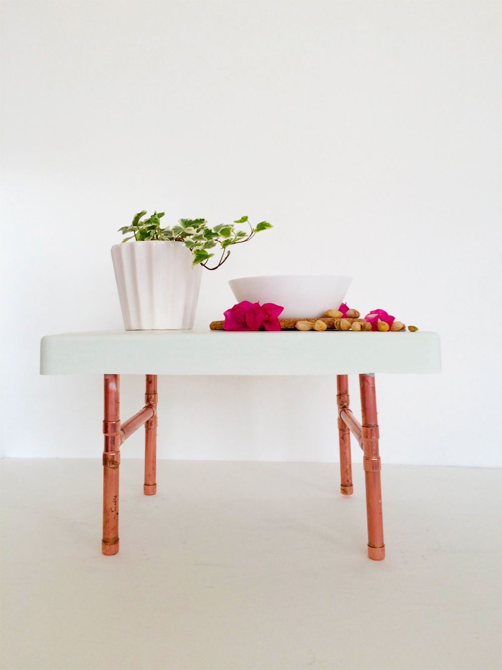 Cement and copper pipes breakfast table
