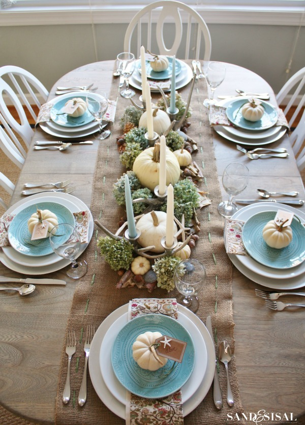 Coastal ocean Thanksgiving Tablescape
