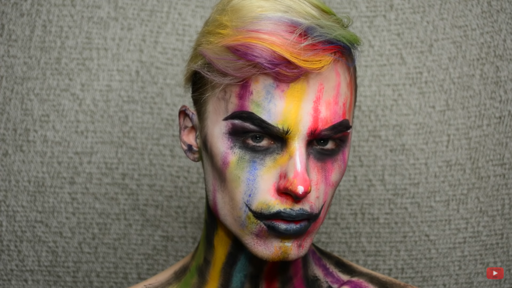 Creepy colorful clown makeup idea
