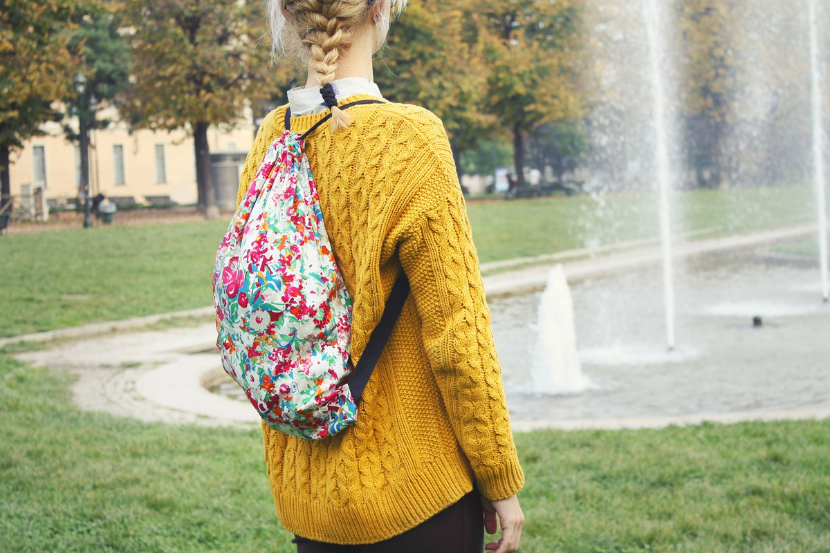 DIY Drawstring Backpack walking