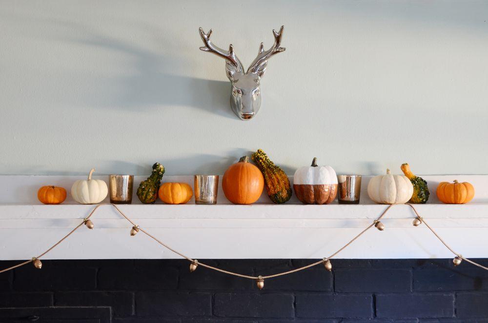Diy thanksgiving garland with acorns thanksgiving ornaments