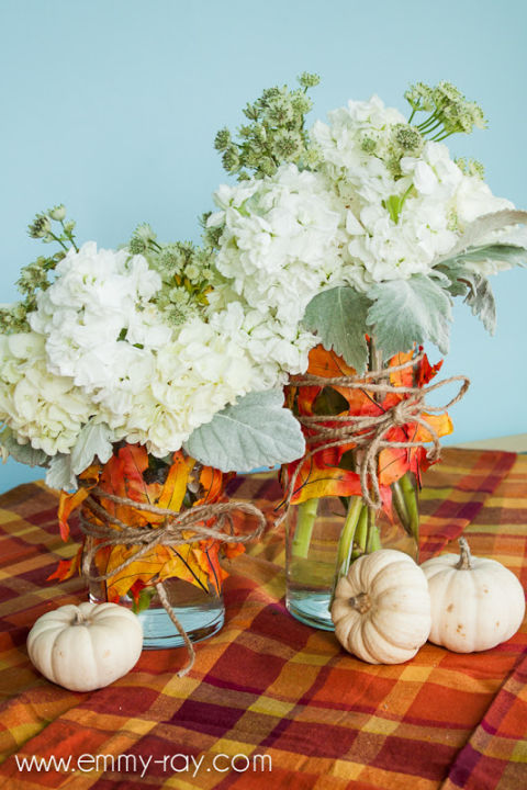 Fall Leaf Vases DIY