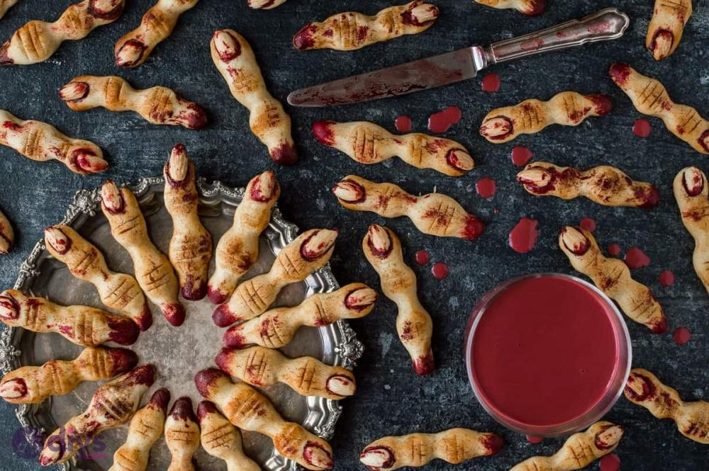 Halloween food ideas for adults witch finger cookies