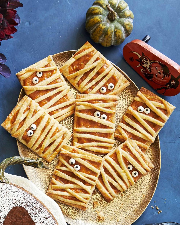 Halloween party appetizers mummy pumpkin hand pies