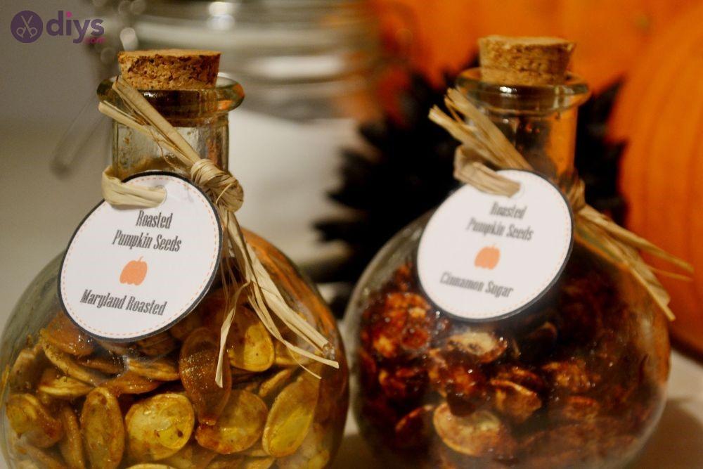 Halloween party food assorted pumpkin seeds