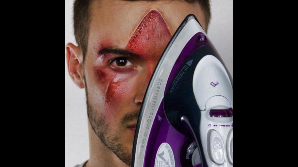 Literal iron man halloween makeup
