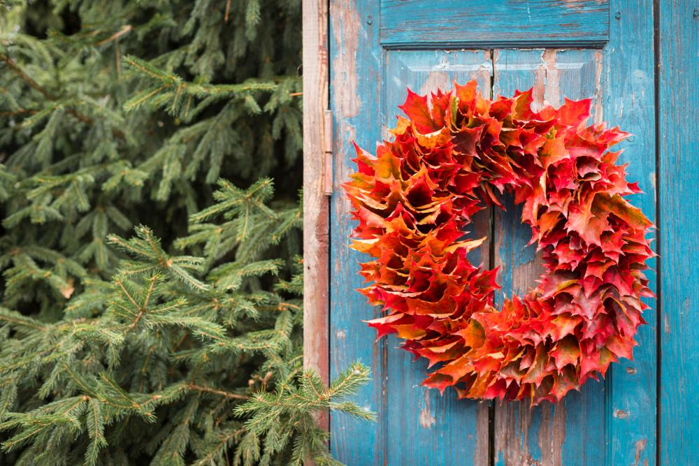 Maple leaves wreath outdoor thanksgiving decorations