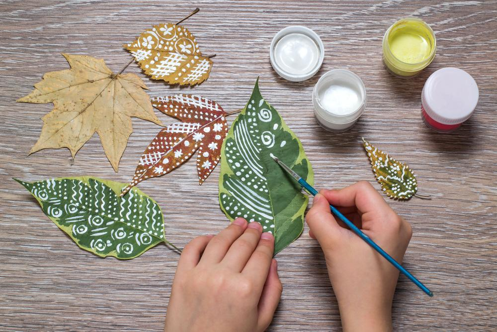 Painted leaves outdoor thanksgiving decorations