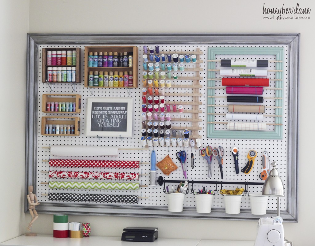 33 ways to organize your gift wrapping essentials pegboard gift wrapping solutioingenieria Choice Image