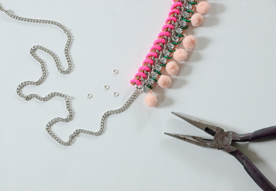 Pom Pom Necklace DIY 6