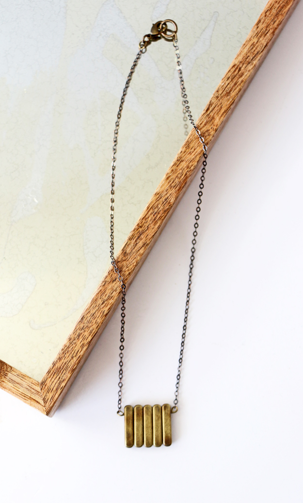 Simple DIY Brass Necklace Everyday