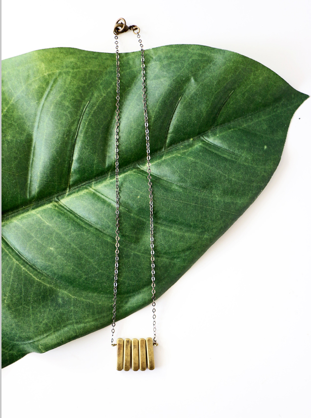 Simple DIY Brass Necklace Leaf