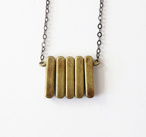 Simple DIY Brass Necklace - Wire