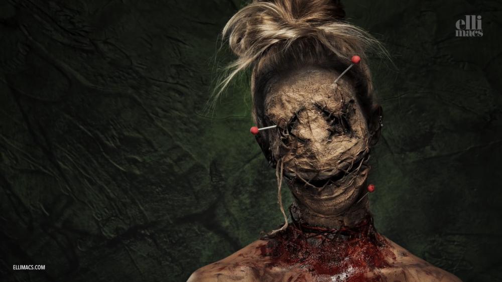 Voodoo doll halloween face paint idea