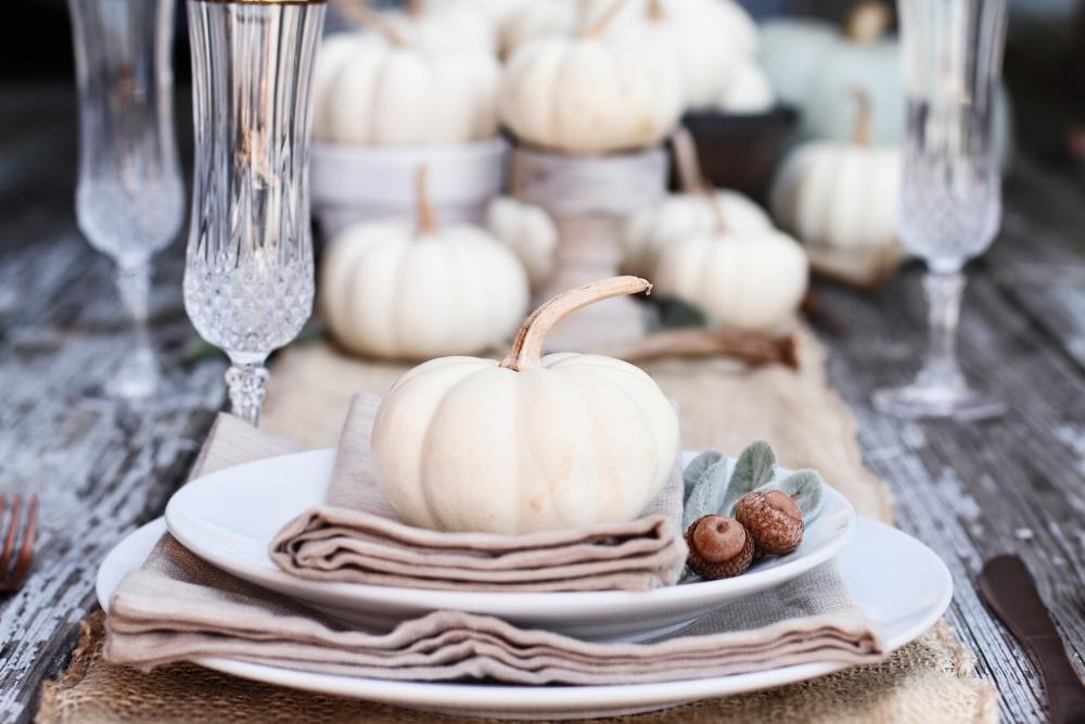 White pumpkin dinner thanksgiving home decor