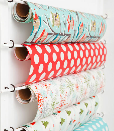 33 ways to organize your gift wrapping essentials wrapping paper wall solutioingenieria Choice Image