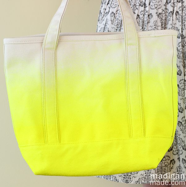 Yellow Neon Dipped DIY Tote