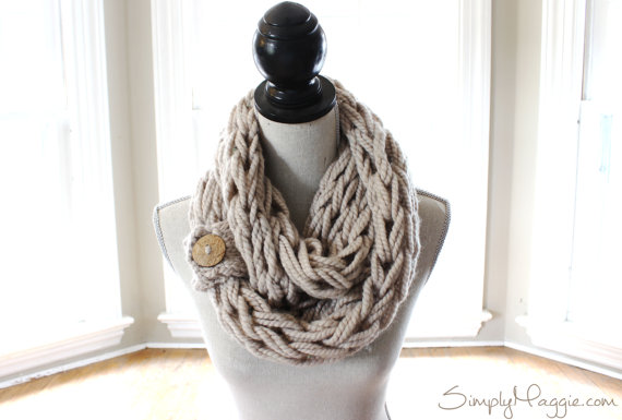 button arm knit scarf