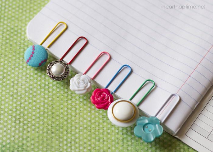 button bookmarks diy