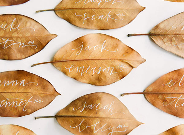 calligraphy leaves place cards