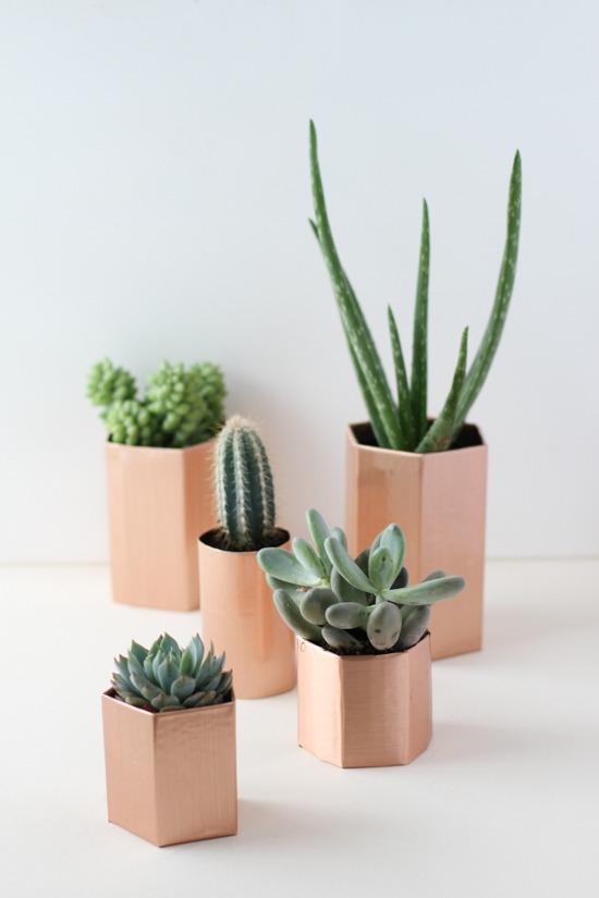 copper geometric planters