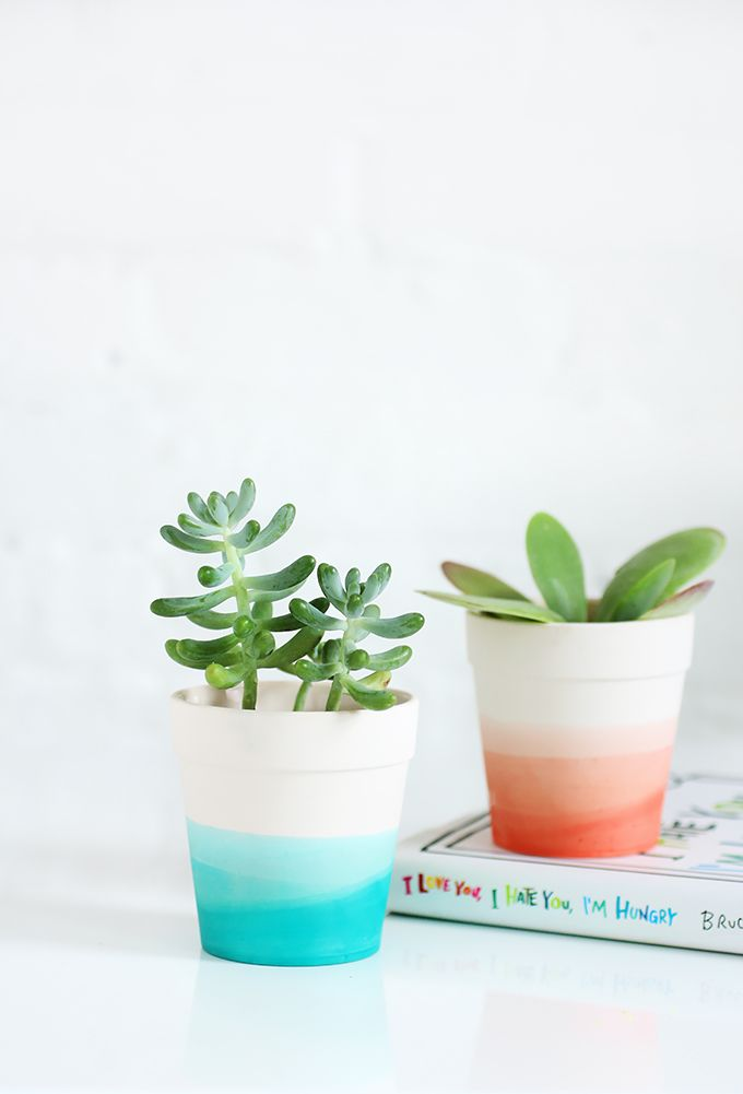dip dyed diy planter