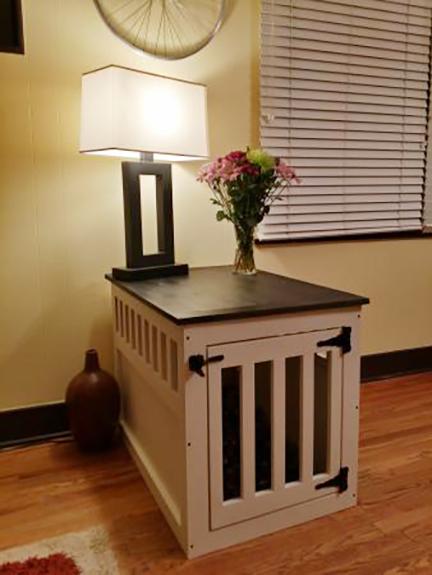 diy dog kennel end table