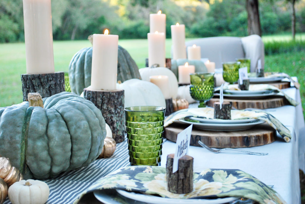green rustic and floral tablescape