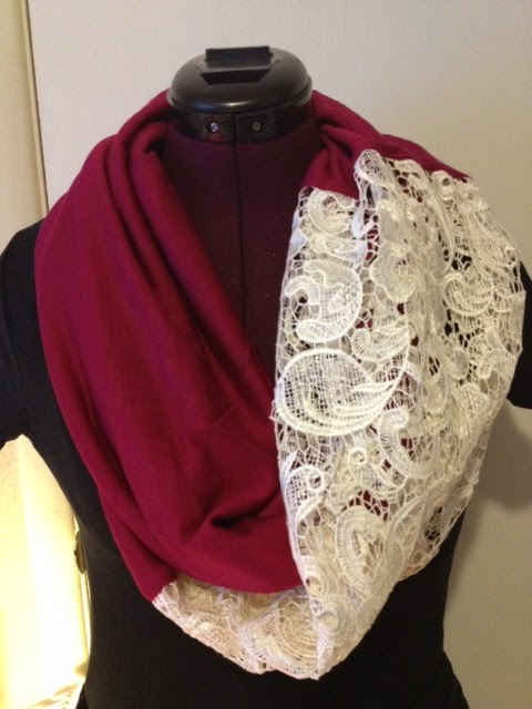 lace and color block scarf
