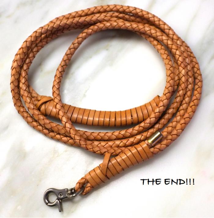 leather braided dog leash