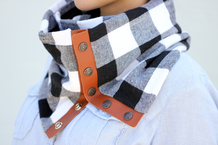leather buffalo plaid flannel scarf