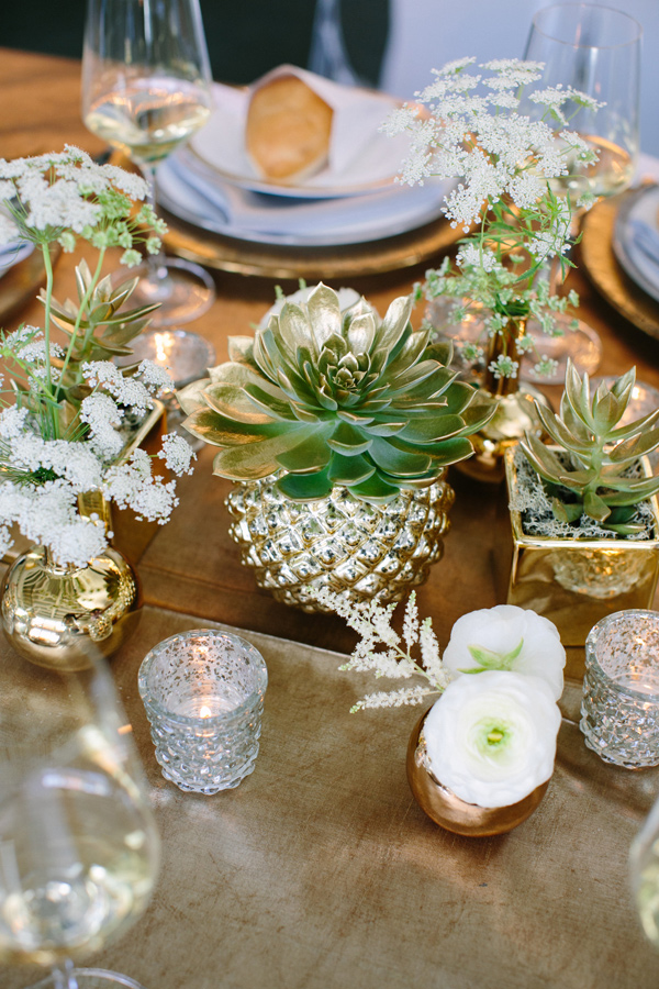 metallic and succulent thanksgiving table
