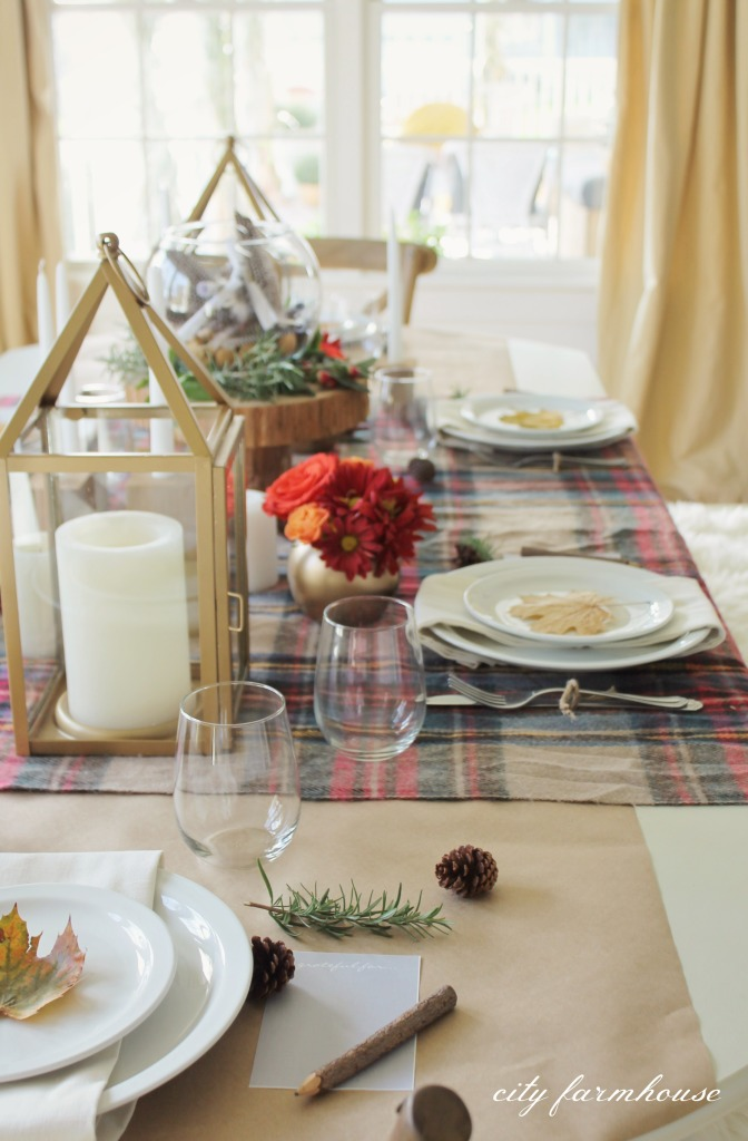 plaid thanksgiving tablescape