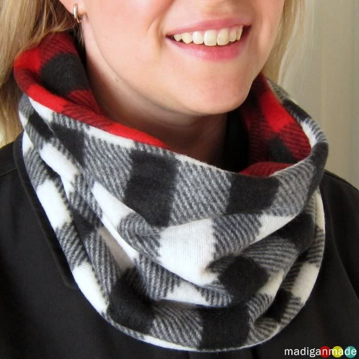 reversible plaid cowl scarf